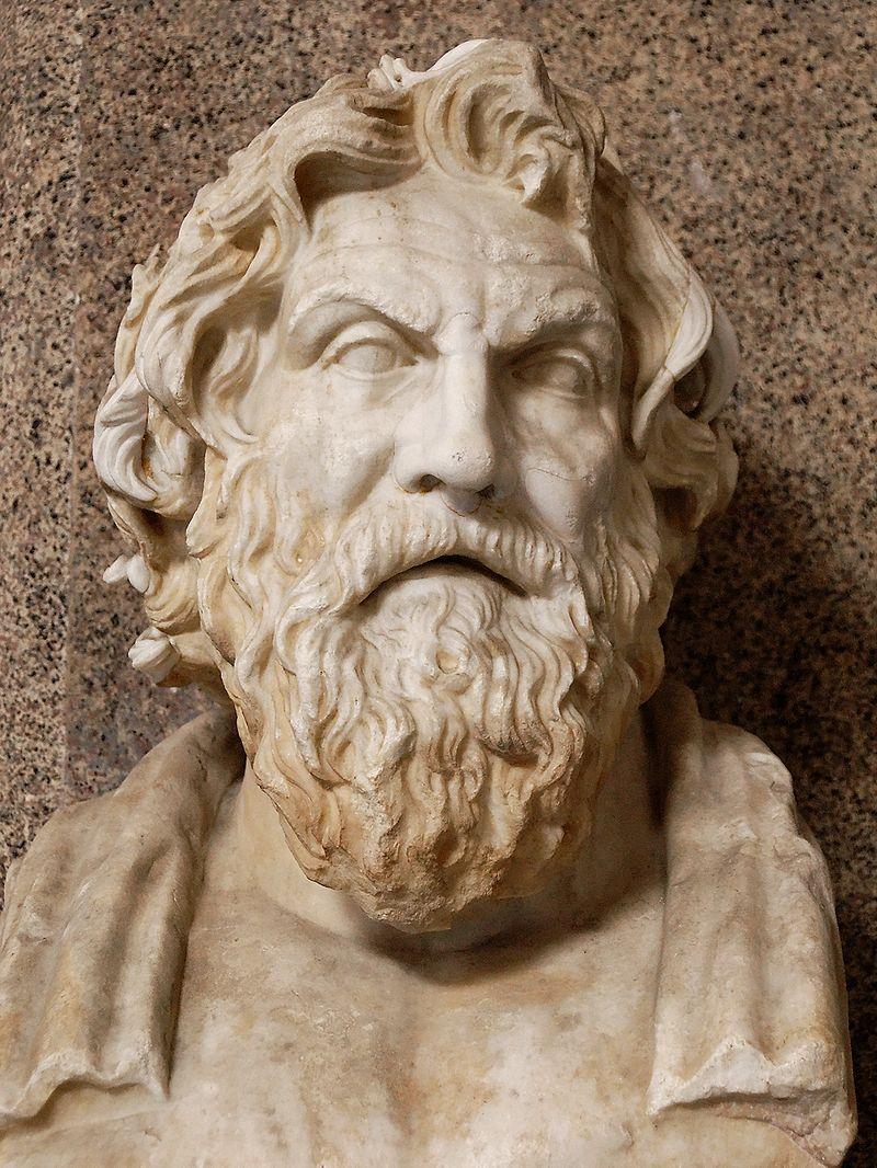 Museo Pio-Clementino, Sala delle Muse, Vaticna Museums. ANtistene. Copie romana dupa un original frec. Wikipedia, foto de Marie-Lan Nguyen, 2009.
