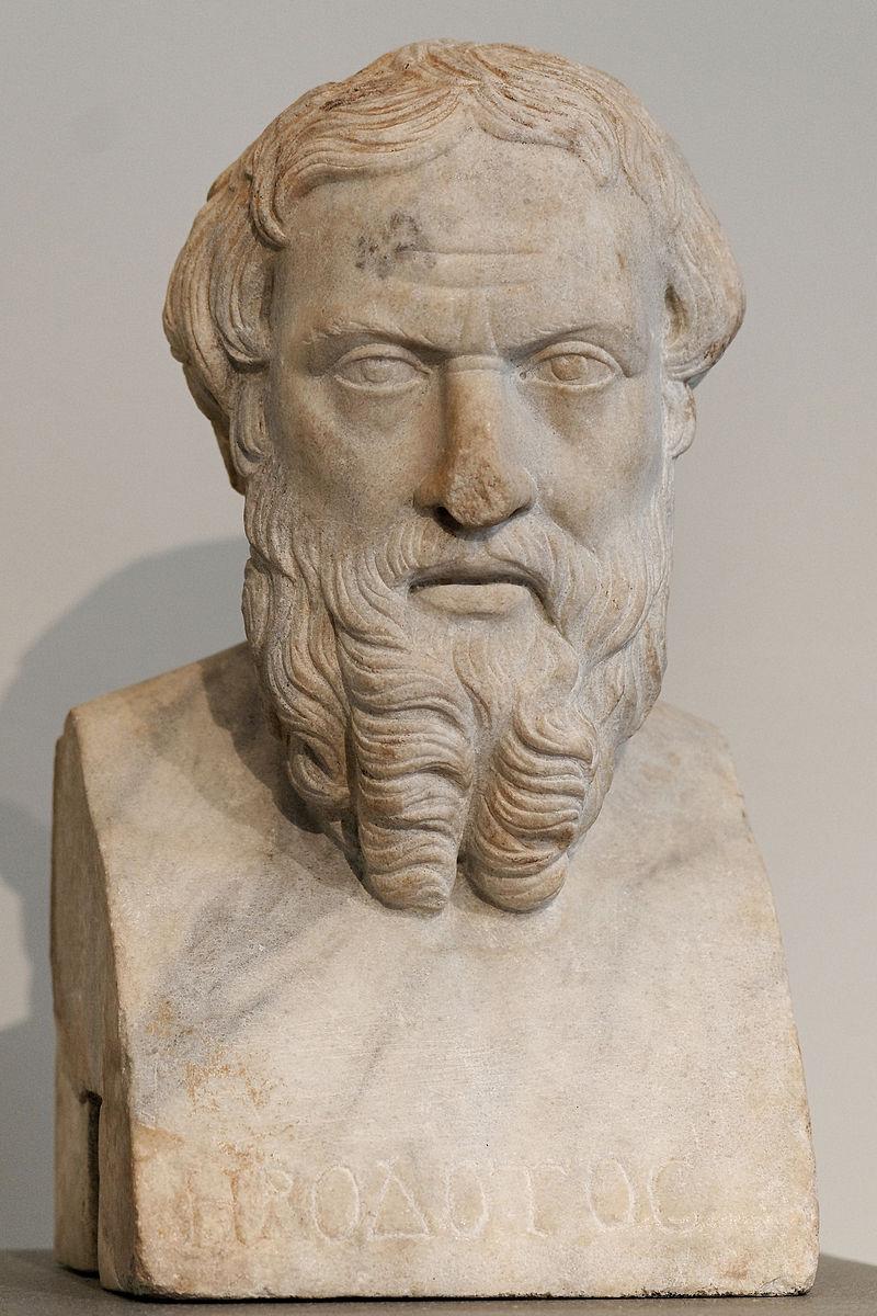 Bustul lui Herodot. Copie romană din epoca imperială (secolul II) după un original grec în bronz din prima jumătate a secolului IV î.e.n., care provine din Benha, fosta Athribis, Egiptul de Jos. Sursă Wikipedia.