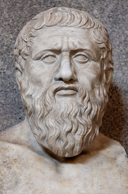 Bustul lui Platon. Marmură, copie romană după un original grec din ultimul sfert al secolului IV î.e.n., muzeul Pio-Clementino. Sursă Marie-Lan Nguyen, Wikipedia.